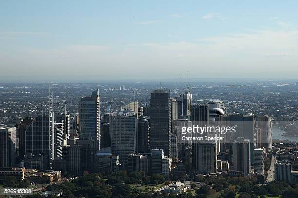 A view of Sydney's central business district from the Appliances Online blimp on April 28 2016 in Sydney Australia The Appliances Online blimp is the...