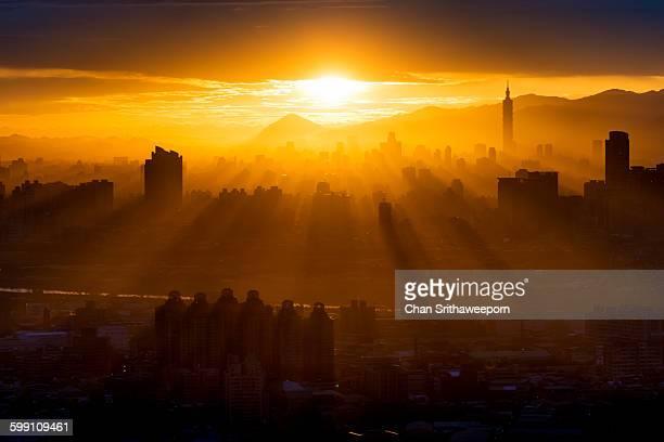 View of Taipei city during sunrise
