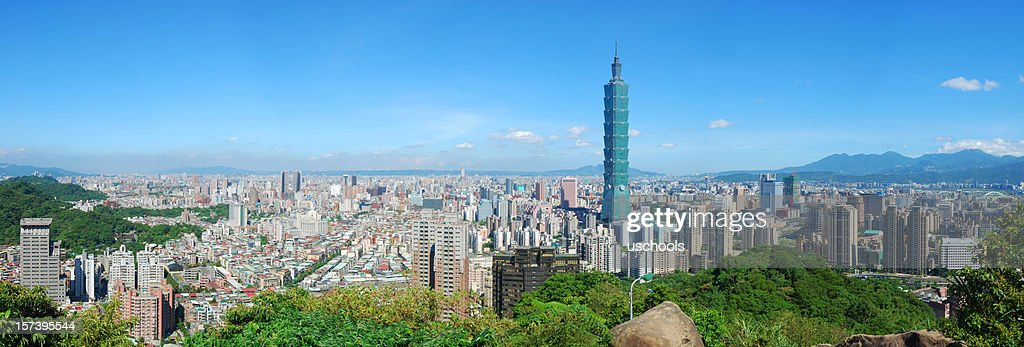View of Taipei skyline on a cloudless sunny day