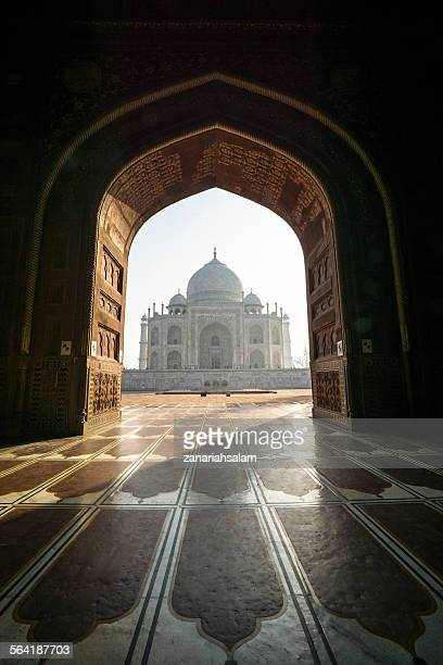 View of Taj Mahal  through archway, Agra, India