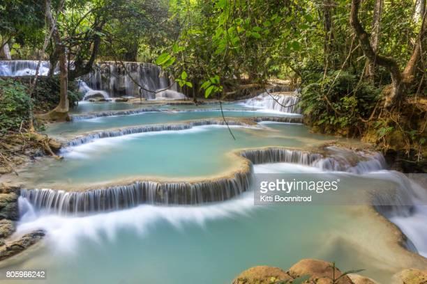 View of Tat Kuang Si Waterfalls, a famous attraction near Luang Prabang, Laos