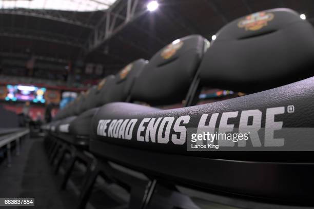A view of team bench seats during the 2017 NCAA Men's Final Four Semifinals at University of Phoenix Stadium on April 1 2017 in Glendale Arizona