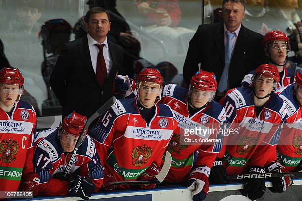 A view of Team Russia bench in a game against Team OHL during the 2010 Subway Super Series on November 11 2010 at the John Labatt Centre in London...