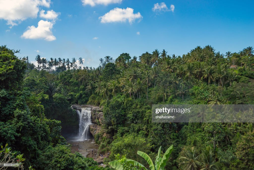 View of Tegenungan waterfall, it is one of the many tourist places and destination in Bali, Indonesia. : Stock Photo