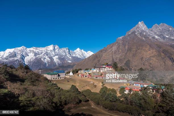 View of Tengboche monastery with Himalayan view in Nepal