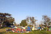 A view of Tent City in Ontario California The City of Ontario opened Tent City for the City's residents who were homeless and to provide a place for...
