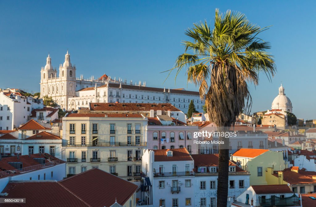 View of terracotta roofs and the ancient castle and dome from Miradouro Alfama viewpoint Lisbon : terracotta roofs - memphite.com
