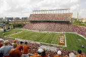 A view of Texas Memorial Stadium during the game between the Nebraska Cornhuskers and the Texas Longhorns on November 1 2003 in Austin Texas The...