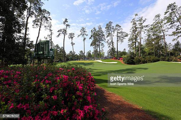A view of the 10th green and the azaleas during the practice round for the 2015 Masters Tournament at the Augusta National Golf Club in Augusta...