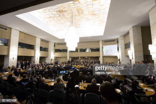 A view of the 12th Conference of the Ambassadors of Italy at the Farnesina Italian Foreign Ministry headquarters in Rome Italy on July 24 2017