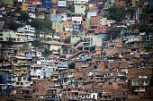 View of the 13 Commune shantytown in Medellin Antioquia department Colombia on July 15 2015 In 2002 Medellin was rocked by violence after the...