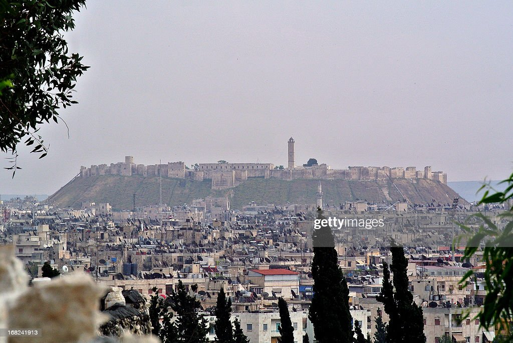 A view of the 13th medieval century citadel that dominates the city of Aleppo, in northern Syria seen on May 7, 2013. AFP PHOTO/STR