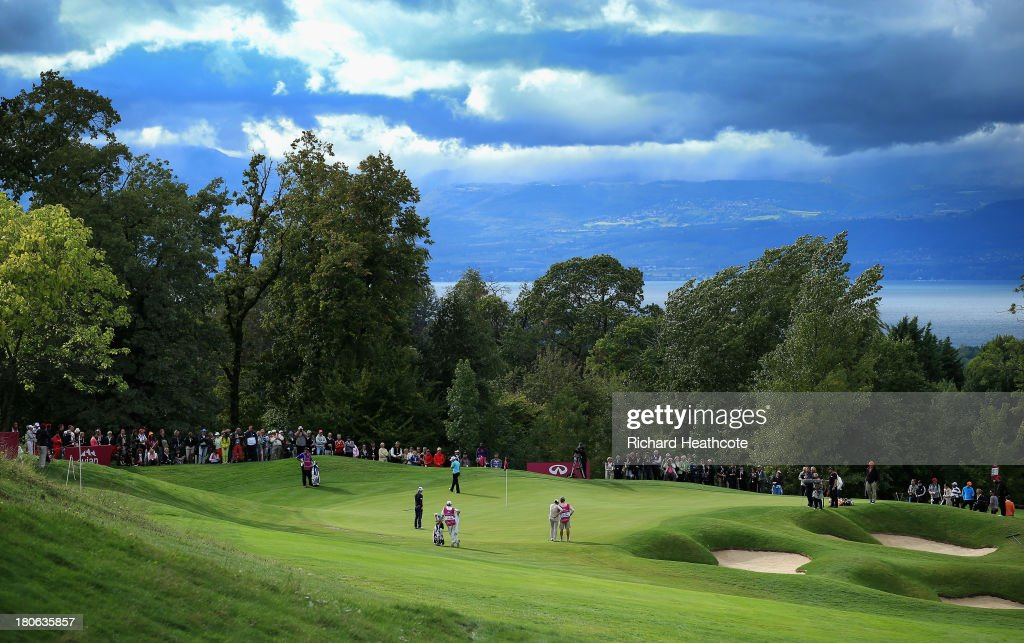 A view of the 14th green during the third round of The Evian Championship at the Evian Resort Golf Club on September 15, 2013 in Evian-les-Bains, France.