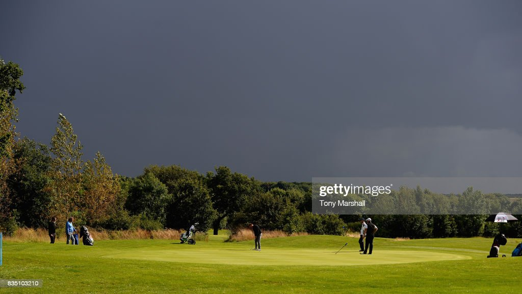 A view of the 16th green with a dark sky during the Golfbreaks.com PGA Fourball Championship - Day 3 at Whittlebury Park Golf & Country Club on August 18, 2017 in Towcester, England.
