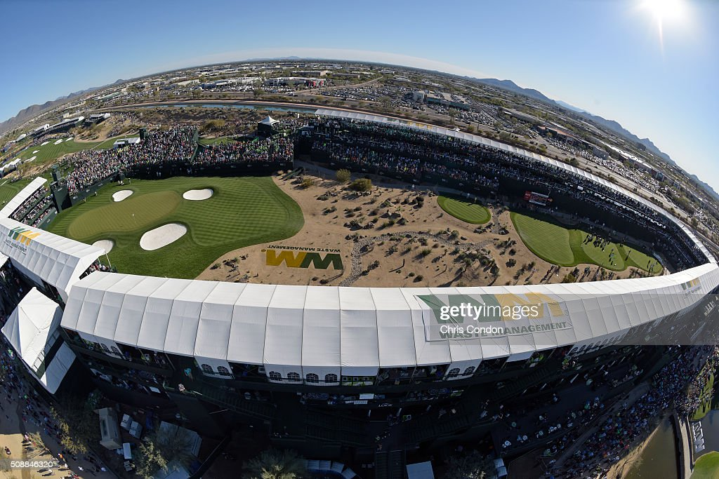 A view of the 16th hole during the third round of the Waste Management Phoenix Open, at TPC Scottsdale on February 6, 2016 in Scottsdale, Arizona.
