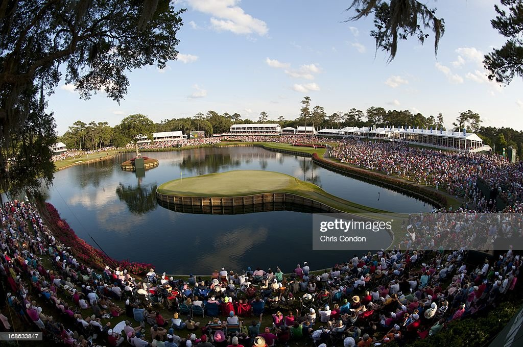 A view of the 17th green during the final round of THE PLAYERS Championship on THE PLAYERS Stadium Course at TPC Sawgrass on May 12, 2013 in Ponte Vedra Beach, Florida.