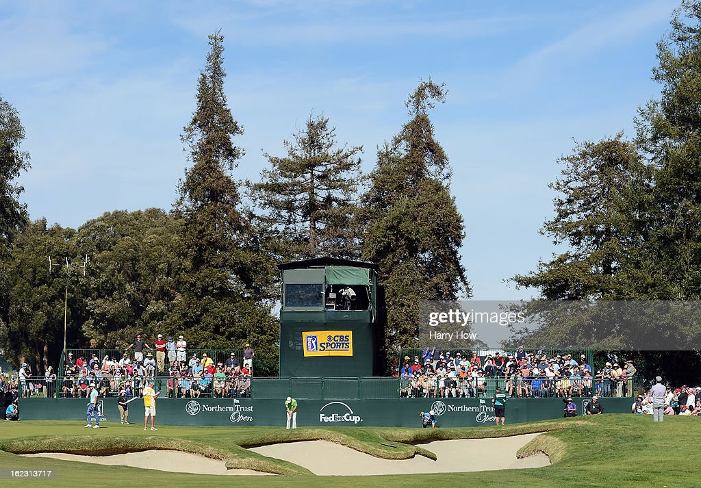View of the 17th green during the third round of the Northern Trust Open at the Riviera Country Club on February 16, 2013 in Pacific Palisades, California.