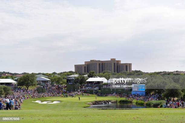 A view of the 17th hole during Round Three of the ATT Byron Nelson at the TPC Four Seasons Resort Las Colinas on May 20 2017 in Irving Texas