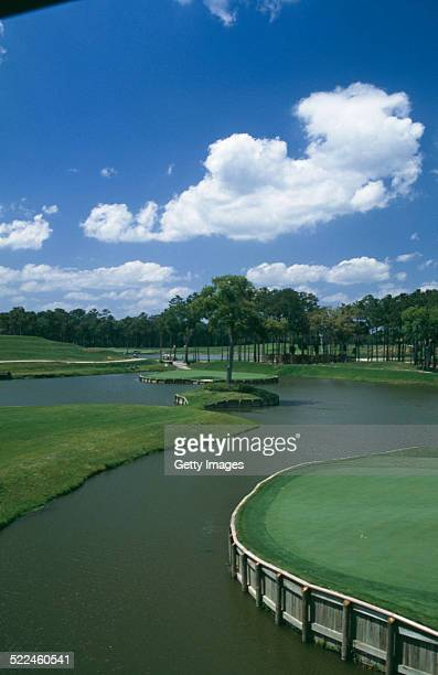A view of the 17th Hole or 'Island Green' at the Tournament Players Club at Sawgrass golf course Ponte Vedra Beach Florida USA circa 2000