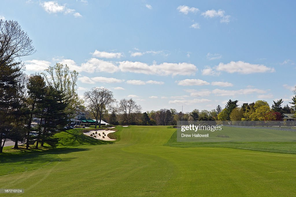 A view of the 18th fairway approaching the green on the East Course at Merion Golf Club on April 22, 2013 in Ardmore, Pennsylvania. Merion Golf Club is the site for the 2013 U.S. Open that will be played June 13-16.