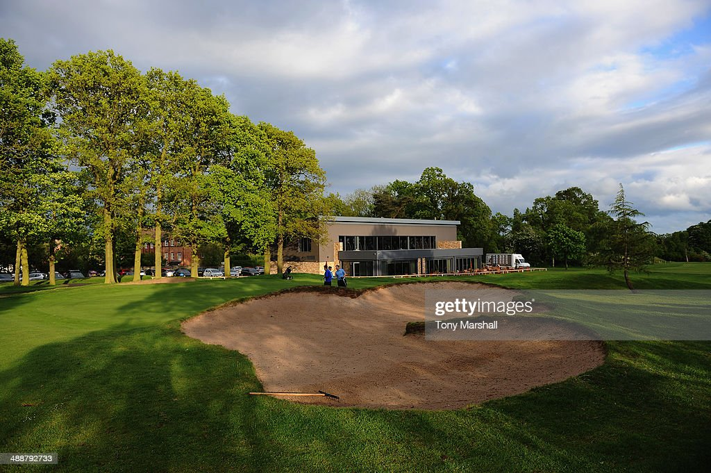 A view of the 18th green and clubhouse at the Pype Hayes Golf Course during the Powerade PGA Assistants' Championship - Midlands Regional Qualifier at The Pype Hayes Golf Club on May 8, 2014 in Birmingham, England.