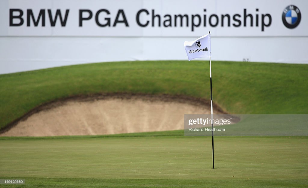 A view of the 18th green and flag during a practise day for the BMW PGA Championships at Wentworth on May 20, 2013 in Virginia Water, England.