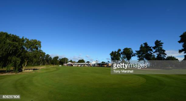 A view of the 18th green and the clubhouse during Day Three of the Galvin Green PGA Assistants' Championship at Coxmoor Golf Club on August 4 2017 in...