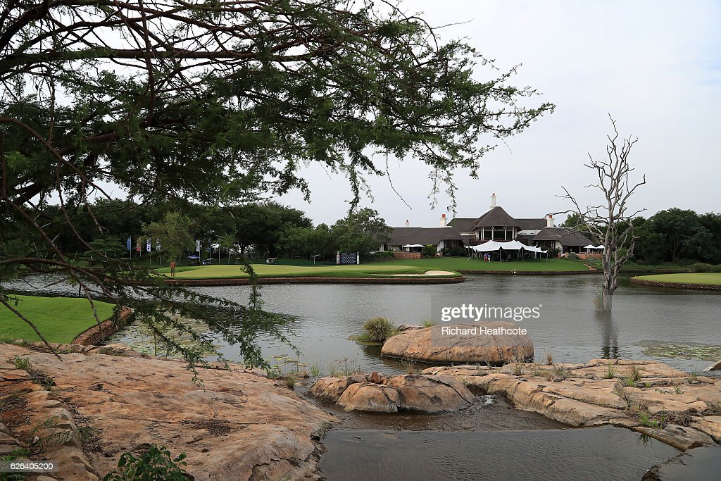 A view of the 18th green and the Clubhouse during previews for the Alfred Dunhill Championship at Leopard Creek Country Golf Club on November 29, 2016 in Malelane, South Africa.