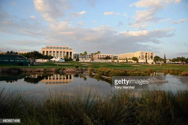 A view of the 18th green and the Tivoli Victoria Hotel during the ProAm event prior to the start of the Portugal Masters at Oceanico Victoria Golf...