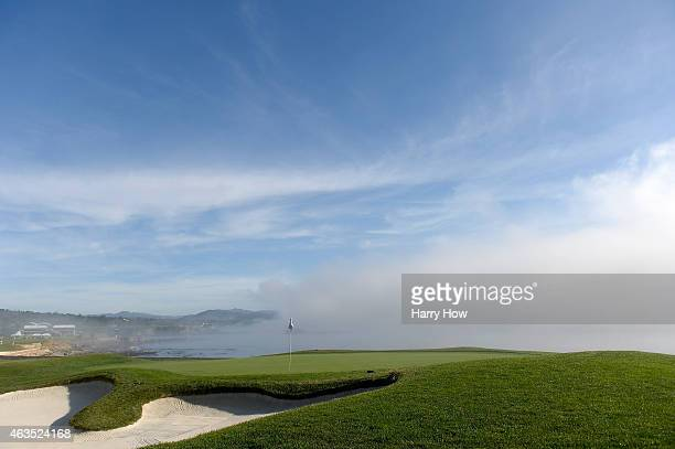 View of the 18th green during the final round of the ATT Pebble Beach National ProAm at the Pebble Beach Golf Links on February 15 2015 in Pebble...