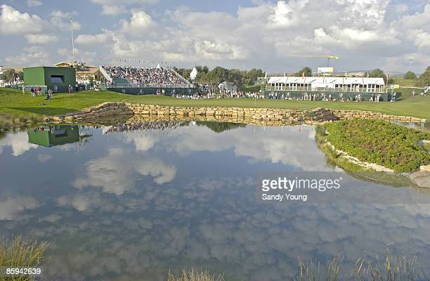 A view of the 18th green during the first round of the 2005 Algarve World Cup at the Victoria Golf Club in Vilamoura Portugal on November 17 2005