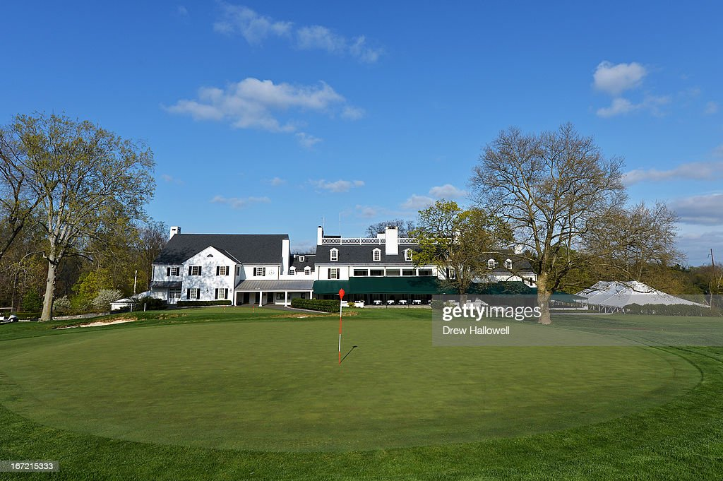 A view of the 18th hole and clubhouse on the East Course at Merion Golf Club on April 22, 2013 in Ardmore, Pennsylvania. Merion Golf Club is the site for the 2013 U.S. Open that will be played June 13-16.