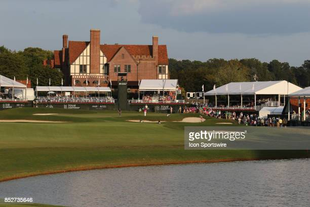 A view of the 18th hole as the final pairing awaits their approach during the third round of the PGA Tour Championship on September 23 2017 at East...