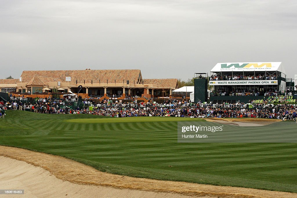 A view of the 18th hole during the final round of the Waste Management Phoenix Open at TPC Scottsdale on February 3, 2013 in Scottsdale, Arizona.