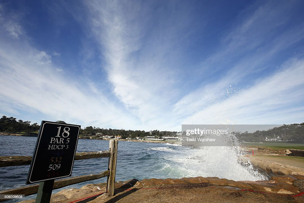 A view of the 18th hole prior to the AT&T Pebble Beach National Pro-Am at Pebble Beach Golf Links on February 9, 2016 in Pebble Beach, California.