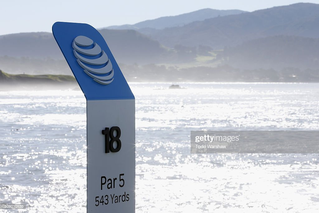A view of the 18th hole yardage sign prior to the AT&T Pebble Beach National Pro-Am at Pebble Beach Golf Links on February 9, 2016 in Pebble Beach, California.