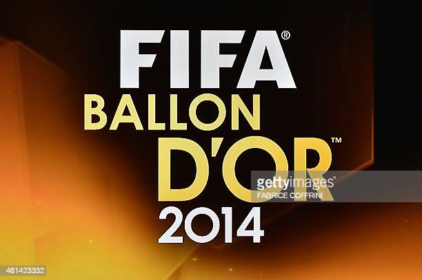 View of the 2014 FIFA Ballon d'Or logo ahead of the award ceremony at the Kongresshaus in Zurich on January 12 2015 AFP PHOTO / FABRICE COFFRINI