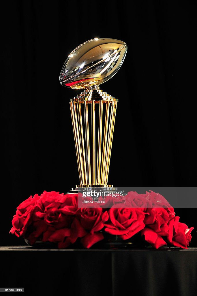 A view of The 2014 Leishman Trophy at the unveiling of the 100th Rose Bowl game press conference on April 23, 2013 in Pasadena, California.