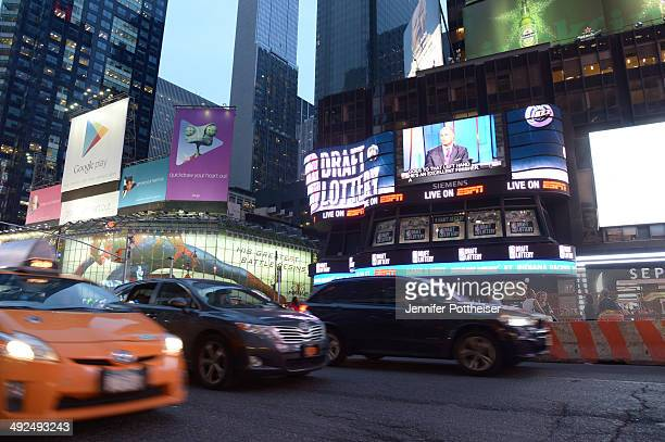 A view of the 2014 NBA Draft Lottery from the jumbotron on May 20 2014 at the ABC News' 'Good Morning America' Times Square Studio in New York City...