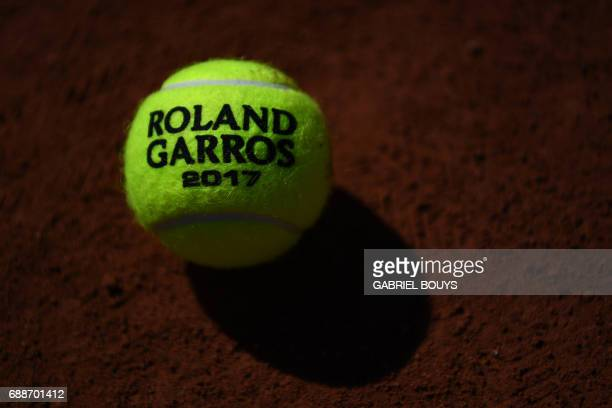 View of the 2017 Roland Garros ball ahead of the Roland Garros 2017 French Tennis Open on May 26 2017 in Paris / AFP PHOTO / GABRIEL BOUYS