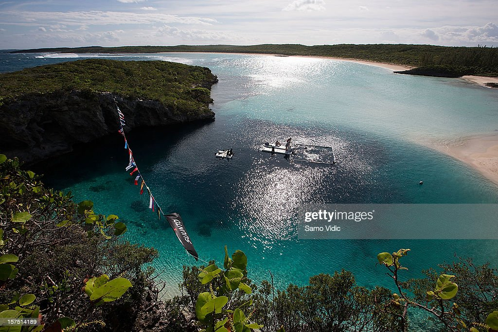 View of the 202-meter deep Dean's Blue hole during the Suunto free diving world cup on November 22, 2012 in Long Island, Bahamas.
