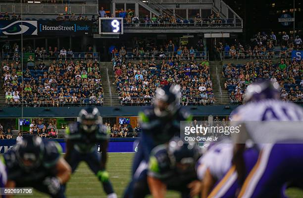 A view of the 30 second clock during the fourth quarter of the game between the Seattle Seahawks and the Minnesota Vikings at CenturyLink Field on...