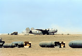 A view of the 376th Bombardment Group flying B24Liberators takes off at the US Air Force Base in Benghazi Libya
