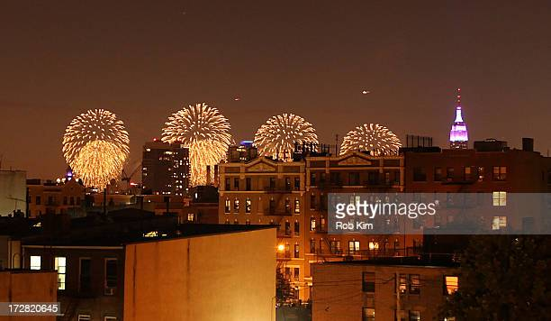 A view of the 37th annual Macy's 4th of July Fireworks from a rooftop on July 4 2013 in Brooklyn New York