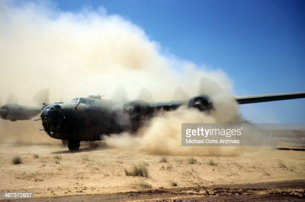 A view of the 389th Bombardment Group flying a B24 Liberator as it lands at the US Air Force base in Benghazi Libya