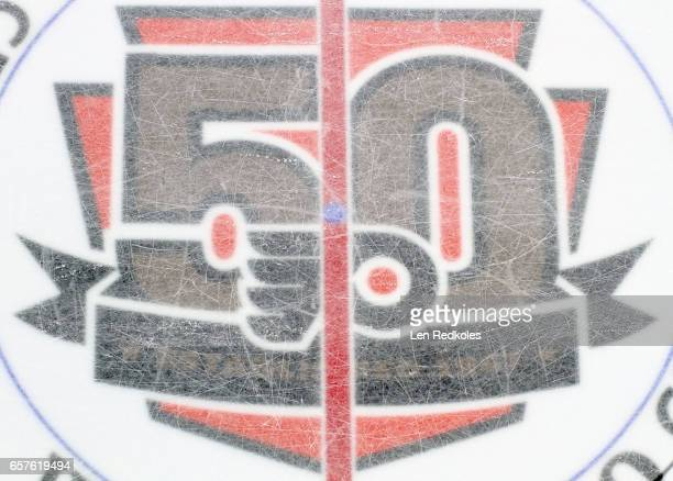 A view of the 50th Anniversary center ice logo during a NHL game between the Philadelphia Flyers and the Pittsburgh Penguins on March 15 2017 at the...