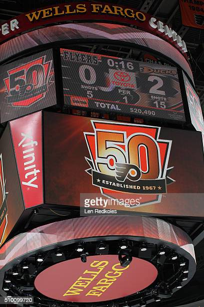 A view of the 50th anniversary logo of the Philadelphia Flyers on the scoreboard during a game against the Anaheim Ducks on February 9 2016 at the...