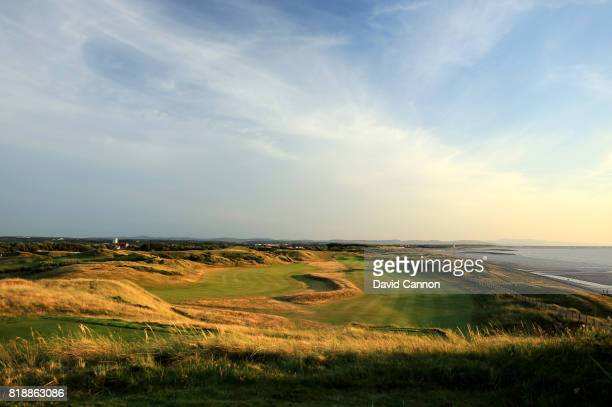 A view of the 531 yards par 5 fourth hole 'Seaway' and the fairway on the par 4 17th hole at Wallasey Golf Club on July 17 2017 in Wallasey England