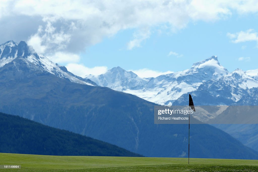 A view of the 7th green during the final round of the Omega European Masters at Crans-sur-Sierre Golf Club on September 2, 2012 in Crans, Switzerland.