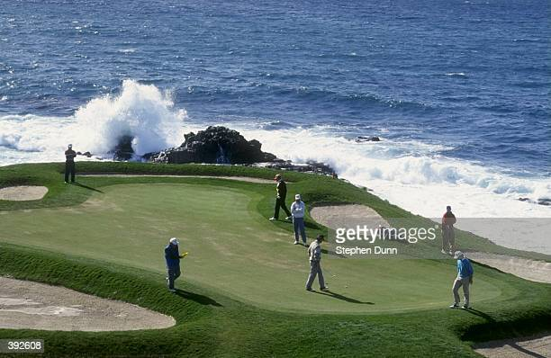 A view of the 7th green of the Pebble Beach Golf Course in Pebble Beach California during the 1991 ATT Pebble Beach Pro Am Mandatory Credit Stephen...